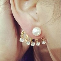 Pearl And Lined Rhinestone Wrapping Ear Cuffs