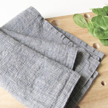 Linen Tea Towel  Rustic Kitchen Towel  Blue Towel  Softened Dish Cloth   Country Style