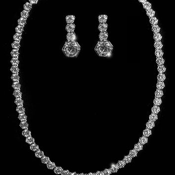 Kira Prong Bezel Tennis Necklace Set | 60 Carat | Cubic Zirconia