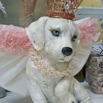 Angel puppy statue crowned princess wings pink embellishments canine sculpture home decor Anita Spero
