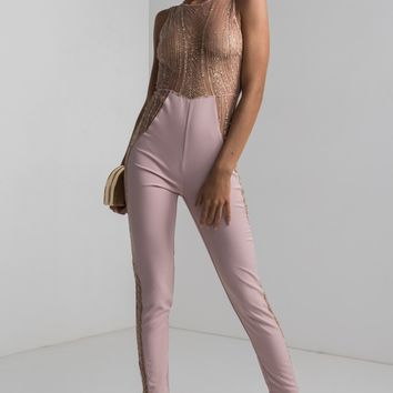 AKIRA Sequin Glitter Sheer Open Side Slim Leg Jumpsuit in Mauve Rose Gold