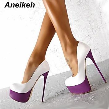 Aneikeh Sexy High Heels 16cm Wedding Shoes Woman Pumps Platform Shoes For Party Stiletto Heel Bridal Shoes Size 34 - 40