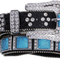 Western Black Leather Belt with Turquoise Squares and Rhinestones