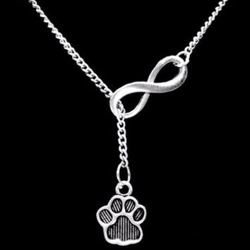 Infinity Paw Print Bulldog Football Mom Sports Dog Veterinarian Y Lariat Necklace