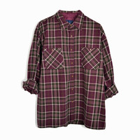Vintage Men's Oxblood Plaid Work Shirt - Flannel Lumberjack Shirt