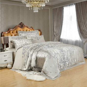 Cool Silver Gray Jacquard Tencel bedding sets king queen 4/6pcs Embroidered bedclothes bed set Satin duvet cover flat sheet cottonAT_93_12
