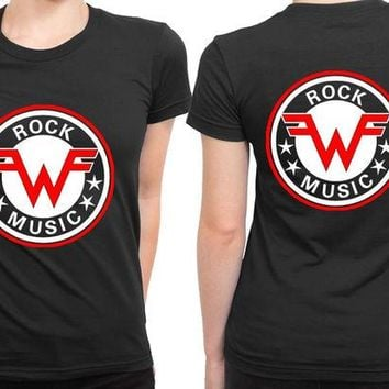 DCCKL83 Weezer Logo Vintage Rock Music 2 Sided Womens T Shirt