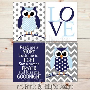 Owl nursery wall decor Baby wall decor Read me a Story print Navy blue gray Owl art Childrens room decor Owl boy nursery Baby boy art #1459