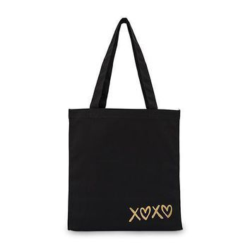 XOXO Black Canvas Tote Bag Tote Bag with Gussets (Pack of 1)