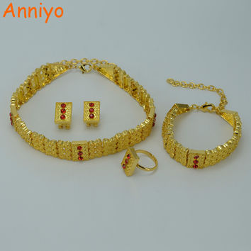 Anniyo Gold Color Ethiopian Jewelry sets Chokers Necklace/Earrings/Ring/Bracelet Eritrea Habesha Africa Wedding set #011306