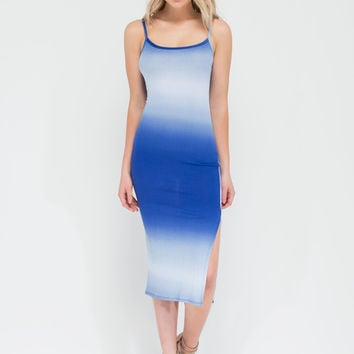 Great Gradient Rib Knit Scoop Midi Dress