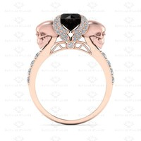 'AILES DE L'AMOUR' 1.80CT BLACK MOISSANITE AND WHITE DIAMOND ROSE GOLD ENGAGEMENT RING
