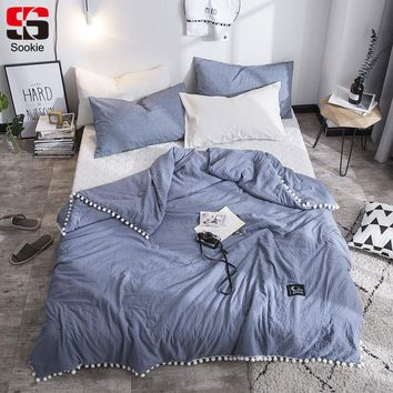 Sookie Fashion Summer Quilt Solid Color Air Condition Comforter with little white Pompons Thin Throw  Blanket blue grey bedding