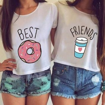 CWLSP Summer Crop Tops Women O Neck Best Friends T Shirts Donuts Milk pattern Short Sleeve Sisterhood Tees Femme Plus size 4XL