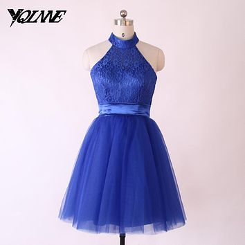 Cheap Royal Blue Bridesmaid Dresses Halter Lace Tulle Pleats Lace Up Knee Length Real Photos Dress