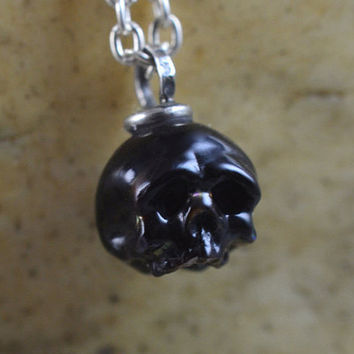 READY TO SHIP - Carved Pearl Skull Necklace - Black Pearl Skull - Hand carved Pearl Pendant - June Birthstone - Unique Gift - Skull Jewelry