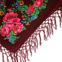 Vintage shawl, Russian style, 100% Wool, Floral russian shawl, Folk print, Flowers on shawl, Folk shawl, Bordo-Burgundy shawl, Roses