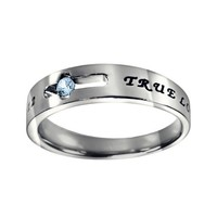 """Christian Women's Stainless Steel Abstinence Cutout Cross March Birthstone Aquamarine Colored Cubic Zirconium Solitaire """"True Love Waits"""" 1 Timothy 4:12 Comfort Fit Chastity Ring for Girls - Girls Purity Ring"""