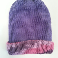 Reversible Purple Pink beanie Hat,, purple pink beanie, unique beanie,Reversible hat