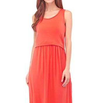 Bearsland Womens Sleeveless Maternity Dress Empire Waist Nursing Breastfeeding Dress Summer