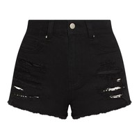 Wash Black Ripped Denim Hot Pants