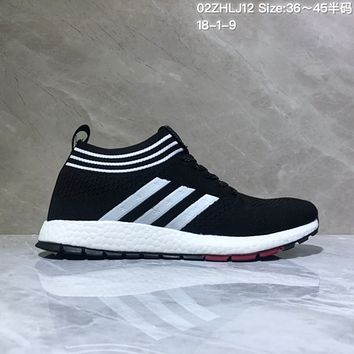 KUYOU A447 Adidas Pure Boost RBL 2019 Flyknit Fashion Running Shoes Black White