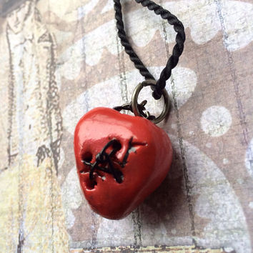Steampunk Red Broken Tattered Mended Heart Pendant Necklace