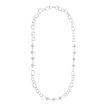 Long Statement Necklace Rhodium Plated Black Diamond Beads 35.5 in