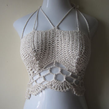 Offwhite crochet bustier,  festival top, halter top,  raves, carnivals beach cover boho chic , summer top, scalloped edges COTTON