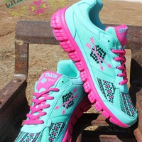 SALE Follow Your Arrow Mint and Pink Aztec Athletic Shoes