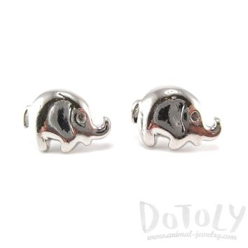 Minimal Round Elephant Shaped Stud Earrings in Silver | Animal Jewelry