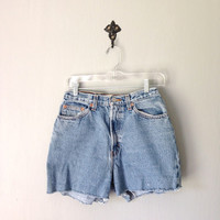Vintage GAP Cut Offs • 1990s Clothing • High Waisted Denim Jean Shorts Jorts • 90s Stonewashed Reverse Fit • Womens size Small Medium 4 6 8
