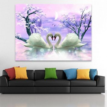 Home Painting Swan Diy 5D Full Diamonds Cross Stitch Siamond Embroidery