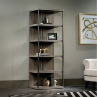 Modern Bookcase With Five Shelves Sturdy Home Office Furniture Fossil Oak Finish