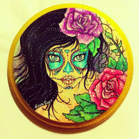 Sugar Skull GirlMini Wood Plaque Painting by KristaRaeArt on Etsy