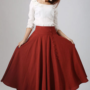 woman's Linen dress maxi skirt long pleated skirt with button detail (781)