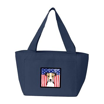 American Flag and Jack Russell Terrier Lunch Bag BB2191NA-8808