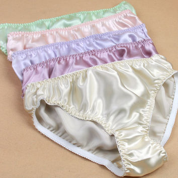 Women Silk Satin Panties Female Respiratory Underwear 6pcs Pack Ladies Knickers Briefs