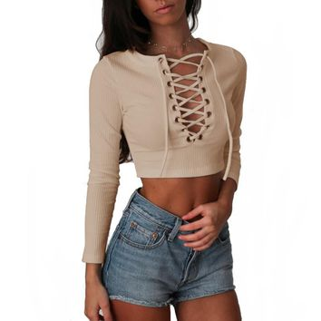 Nadafair Long Sleeve Laced Up Criss Cross Short T Shirt White Black Grey Khaki Casual Women Crop Top