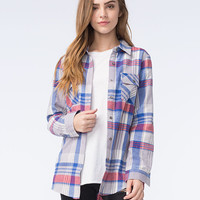Full Tilt Blue Plum Womens Flannel Multi  In Sizes