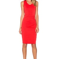 Lightweight Cashmere Terry Shirred Midi Tank Dress in Retro Red