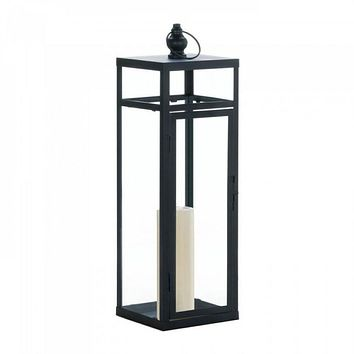 Large Black Dramatic Geometry Lantern