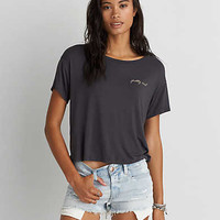 AEO Boxy Embroidered Graphic T-Shirt, Urban Black