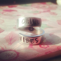 Chill vibes ring sun inside  hand stamped aluminum spiral  ring