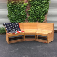 1930s Bowling Alley Bench, Large Maple Bowling Alley Bench, Wood Breakfast Nook, Bar Restaurant Furniture