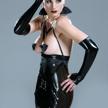Latex and latexlace harness skirt by Eustratia