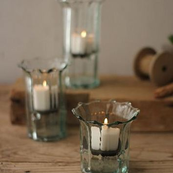 Set of 3 Recycled Glass Ribbed Votive Cylinders