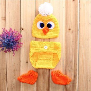 Yellow Duck Baby Girls Boys Crochet Knit Costume Photo Photography Outfits