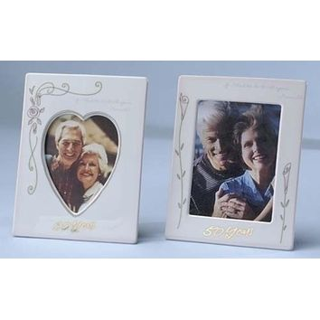"Set of 2 50th Wedding Anniversary 4""x6"" Photo Frames #11083"