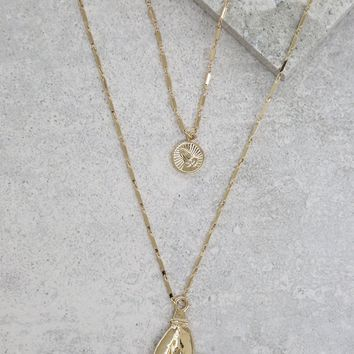 Layered Hand and Coin Necklace in Gold